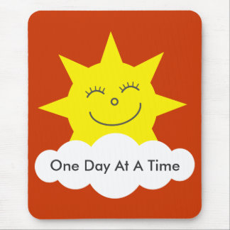 "Happy sun ""One Day At A Time"" mousepad"