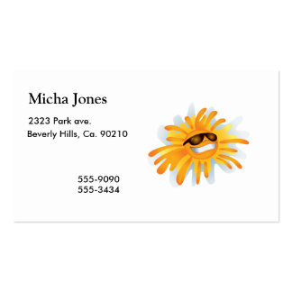 Happy Sun Wearing Shades Business Card Template