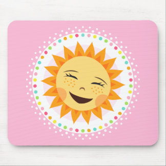 Happy sun with colourful polka dot border mousepads
