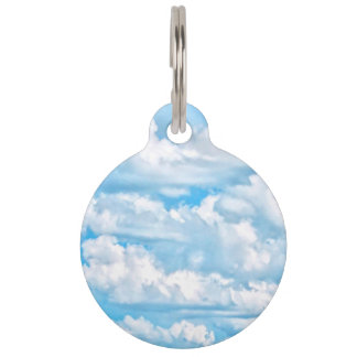 Happy Sunny Clouds Blue Background Pet Name Tag