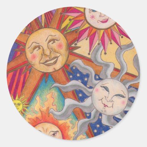 Happy suns round sticker