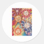 Happy suns round stickers
