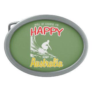 Happy Surfer AUSTRALIA (Wht) Oval Belt Buckle