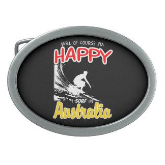 Happy Surfer AUSTRALIA (Wht) Oval Belt Buckles