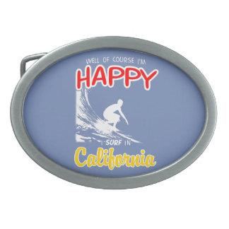 Happy Surfer CALIFORNIA (Wht) Oval Belt Buckle