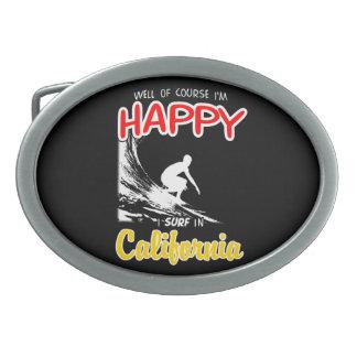 Happy Surfer CALIFORNIA (Wht) Oval Belt Buckles