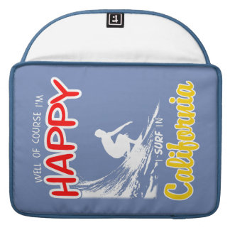 Happy Surfer CALIFORNIA (Wht) Sleeve For MacBooks