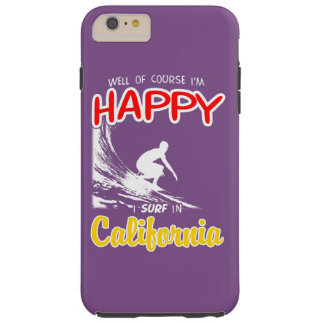 Happy Surfer CALIFORNIA (Wht) Tough iPhone 6 Plus Case
