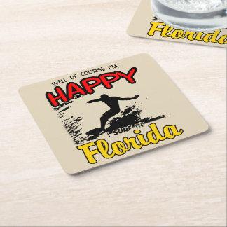 Happy Surfer FLORIDA (blk) Square Paper Coaster
