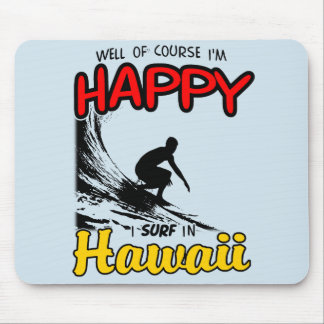 Happy Surfer HAWAII (blk) Mouse Mat