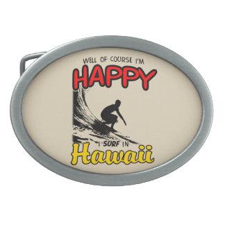 Happy Surfer HAWAII (blk) Oval Belt Buckles