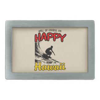 Happy Surfer HAWAII (blk) Rectangular Belt Buckle