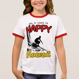 Happy Surfer HAWAII (blk) Ringer T-Shirt