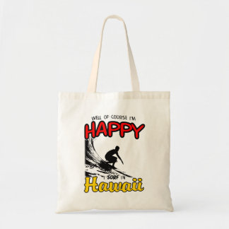 Happy Surfer HAWAII (blk) Tote Bag