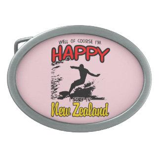 Happy Surfer NEW ZEALAND (Blk) Oval Belt Buckle