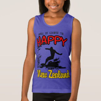 Happy Surfer NEW ZEALAND (Blk) Tank Top