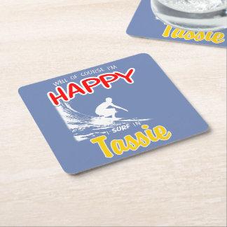 Happy Surfer TASSIE (Wht) Square Paper Coaster