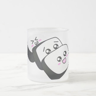 Happy Sushi Frosted Glass Coffee Mug