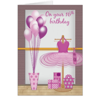 Happy Sweet 16 Ballet Birthday Girly Pink Card