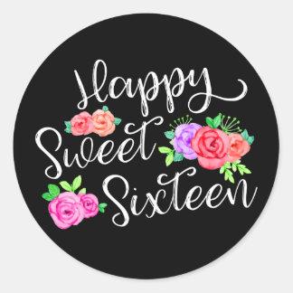 Happy Sweet 16 Birthday Girl Edgy Roses & Black Round Sticker