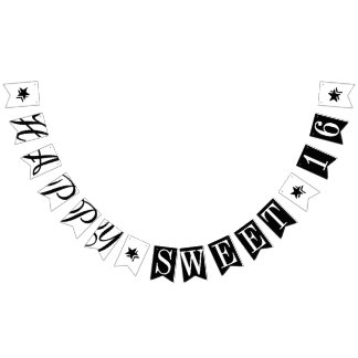 HAPPY SWEET 16 Black And White Birthday Decor Bunting