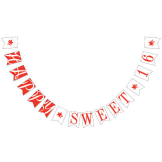 HAPPY SWEET 16 Scarlet Red Birthday Decor Bunting