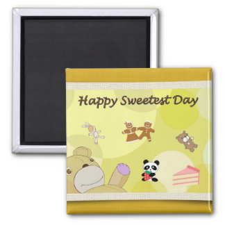 Happy Sweetest Day Teddy Bears Square Magnet