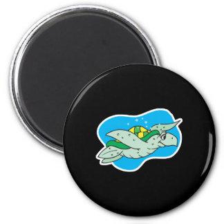 happy swimming sea turtle 6 cm round magnet