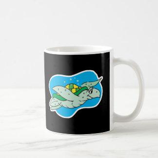 happy swimming sea turtle mugs