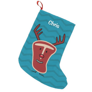 Happy T-Bone Steak Reindeer red nose Christmas Small Christmas Stocking