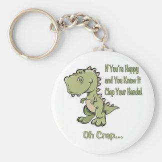 Happy T-Rex Basic Round Button Key Ring