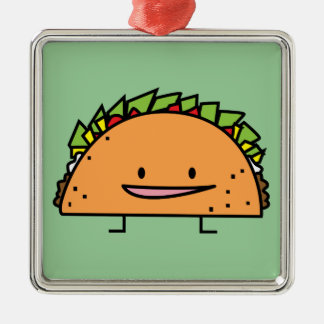 Happy Taco corn shell beef meat salsa Mexican food Christmas Ornament