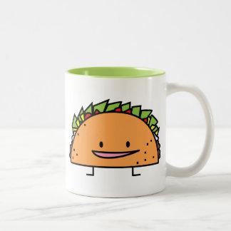 Happy Taco corn shell beef meat salsa Mexican food Two-Tone Coffee Mug