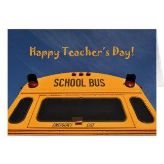 Happy Teacher s Day Yellow School Bus Photograph Greeting Card