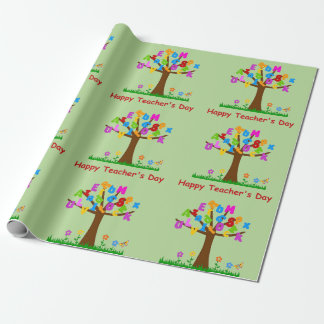 Happy Teachers Day Alphabet Tree Wrapping Paper