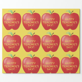 Happy Teachers Day Apple Wrapping Paper