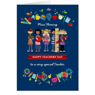 Happy Teachers' Day. Personalized Greeting Cards
