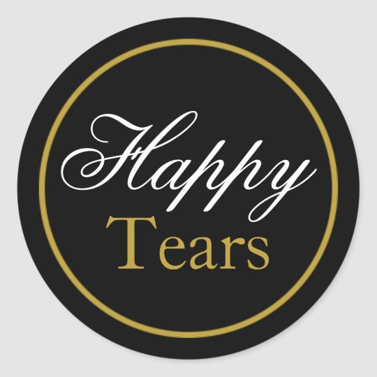 """Happy Tears"" Wedding Sticker - Black Gold"