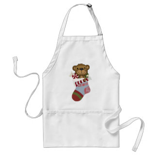 Happy Teddy Bear and Candy in Christmas Stocking Apron