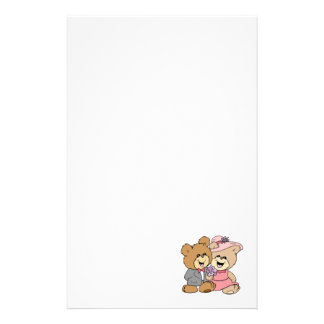 happy teddy bear couple design stationery paper