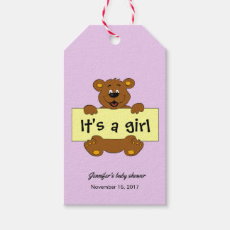 Happy teddy bear pink baby girl shower thank you