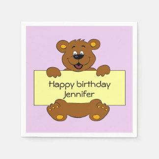 Happy teddy bear pink birthday girl name kids paper serviettes