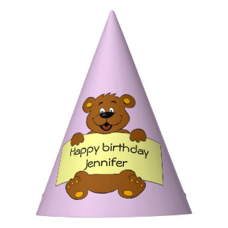 Happy teddy bear pink birthday girl name kids party hat