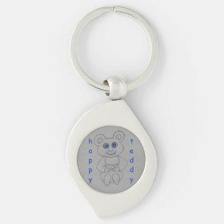 Happy Teddy Silver-Colored Swirl Key Ring