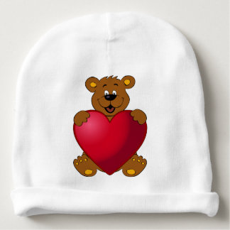 Happy teddybear with heart cartoon baby beanie
