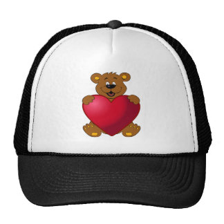 Happy teddybear with heart cartoon cap