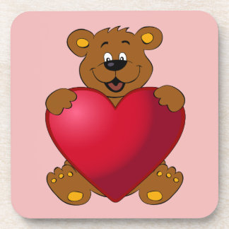 Happy teddybear with heart cartoon girl beverage coaster