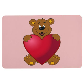 Happy teddybear with heart cartoon girl floor mat