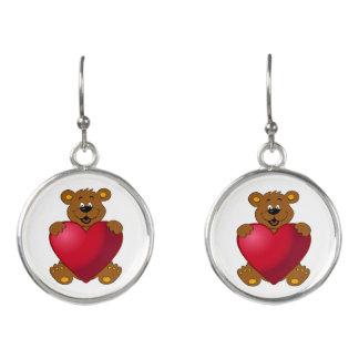 Happy teddybear with heart cartoon girls earrings