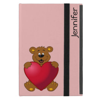 Happy teddybear with heart cartoon girls ipad case